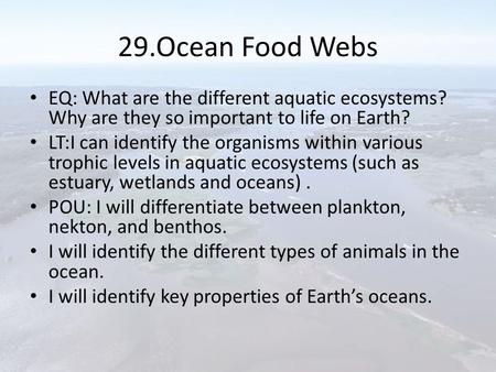 29.Ocean Food Webs EQ: What are the different aquatic ecosystems? Why are they so important to life on Earth? LT:I can identify the organisms within various.