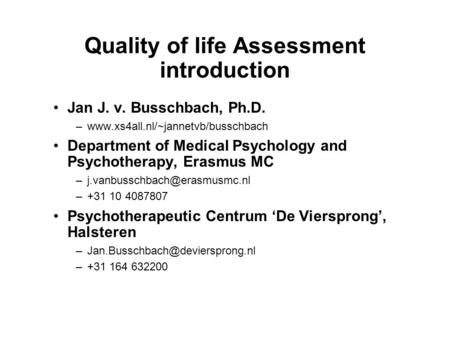 Quality of life Assessment introduction