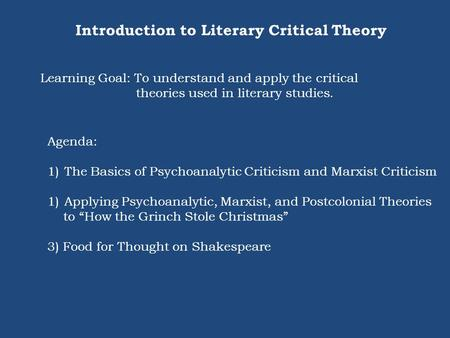 Introduction to Literary Critical Theory Learning Goal: To understand and apply the critical theories used in literary studies. Agenda: 1)The Basics of.