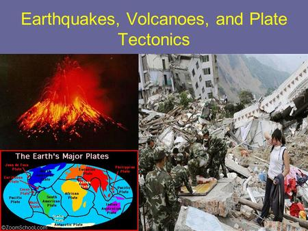 Earthquakes, Volcanoes, and Plate Tectonics. Earth's plates move around, collide, move apart, or slide past each other. The movement of these plates can.