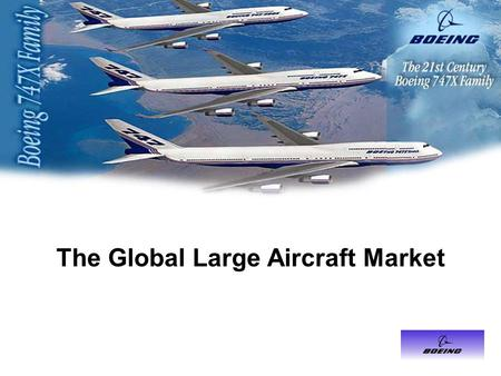 The Global Large Aircraft Market. Outline Objective Industry History Boeing Corporation Airbus Industrie Industry Competition Large Aircraft Competitive.