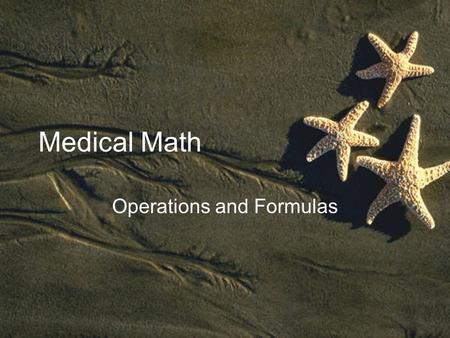 Operations and Formulas