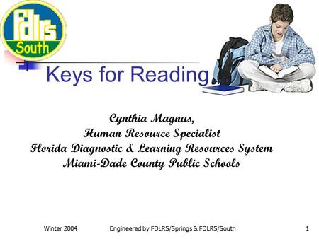 Winter 2004Engineered by FDLRS/Springs & FDLRS/South1 Cynthia Magnus, Human Resource Specialist Florida Diagnostic & Learning Resources System Miami-Dade.