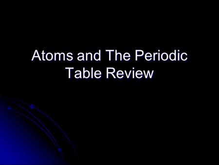 Atoms and The Periodic Table Review