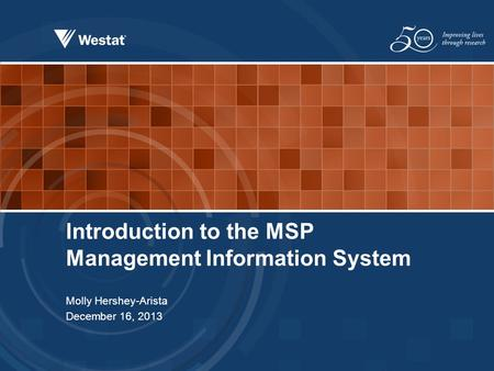 Introduction to the MSP Management Information System Molly Hershey-Arista December 16, 2013.