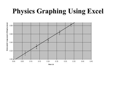 Physics Graphing Using Excel. Advantages of Graphing with Spreadsheet Programs Can be fast. Handles lots of data and multiple calculations. Precise calculation.