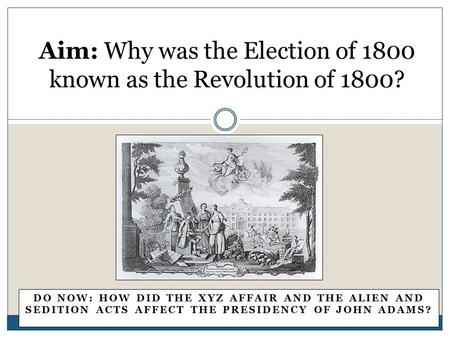 the revolutionary american elections of 1800 and 1828 The 1800 election was a rematch between adams and jefferson, and to forestall the recurrence of the same situation from the 1796 election, the parties sought to ensure that all their electors were united.