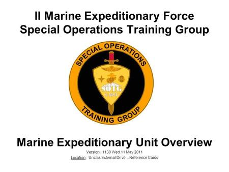 II Marine Expeditionary Force Special Operations Training Group