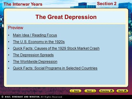 The Great Depression Preview Main Idea / Reading Focus