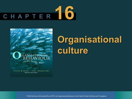  2003 McGraw-Hill Australia Pty Ltd PPTs t/a Organisational Behaviour on the Pacific Rim by McShane and Travaglione C H A P T E R 16 Organisational culture.