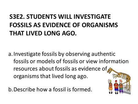 A.Investigate fossils by observing authentic fossils or models of fossils or view information resources about fossils as evidence of organisms that lived.