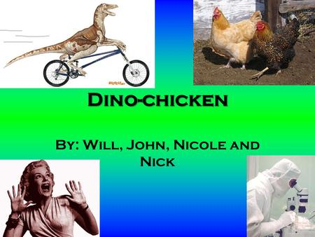Dino-chicken By: Will, John, Nicole and Nick Back in the day… Mesozoic era Dinosaurs were dominant life forms on planet Earth Divided into two categories.