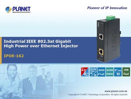 Industrial IEEE 802.3at Gigabit High Power over Ethernet Injector IPOE-162.