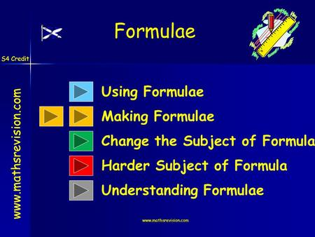 Www.mathsrevision.com Formulae www.mathsrevision.com Change the Subject of Formula Harder Subject of Formula Understanding Formulae Making Formulae Using.