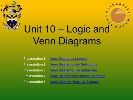 Unit 10 – Logic and Venn Diagrams