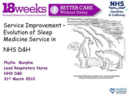 Phyllis Murphie Lead Respiratory Nurse NHS D&G 31 st March 2010 Service Improvement – Evolution of Sleep Medicine Service in NHS D&H.