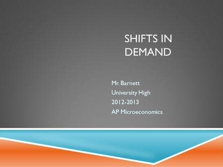 SHIFTS IN DEMAND Mr. Barnett University High 2012-2013 AP Microeconomics.