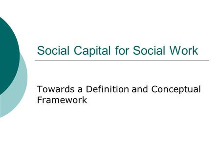 Social Capital for Social Work