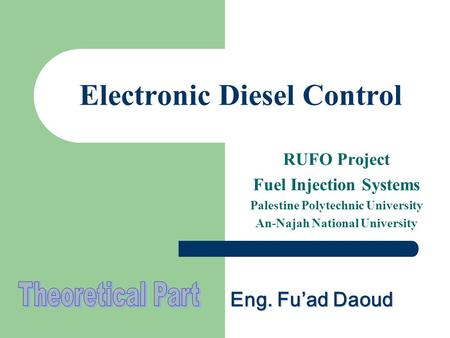Electronic Diesel Control RUFO Project Fuel Injection Systems Palestine Polytechnic University An-Najah National University Eng. Fu'ad Daoud.