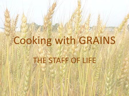 Cooking with GRAINS THE STAFF OF LIFE. UNDERSTANDING GRAINS AND GRAIN PRODUCTS Grains are seeds of plants from the grass family. Common grains include: