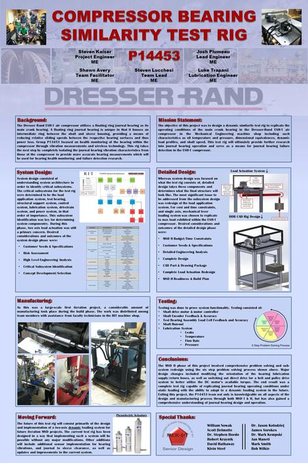 The objective of this project was to design a dynamic similarity test rig to replicate the operating conditions of the main crank bearing in the Dresser-Rand.