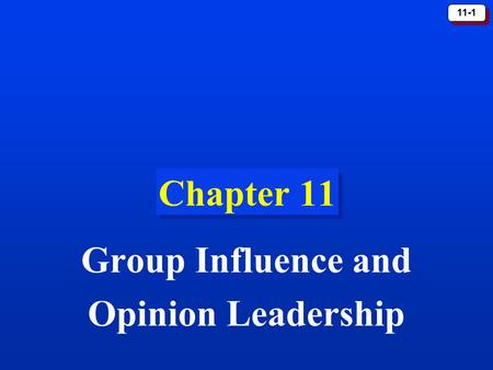 11-1 Chapter 11 Group Influence and Opinion Leadership.