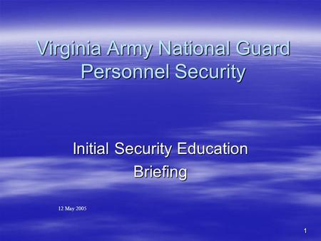 Virginia Army National Guard Personnel Security