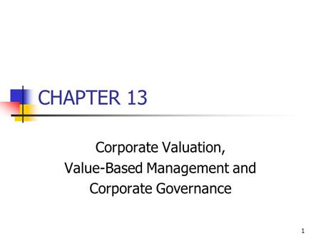 Corporate Valuation, Value-Based Management and Corporate Governance