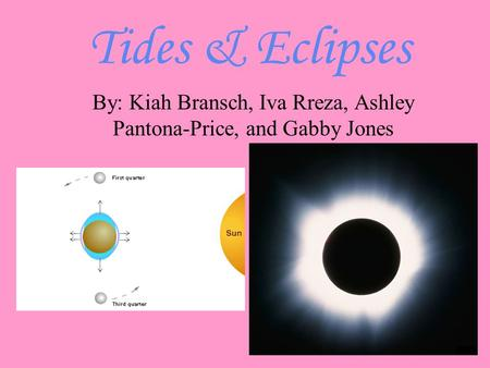 Tides & Eclipses By: Kiah Bransch, Iva Rreza, Ashley Pantona-Price, and Gabby Jones.
