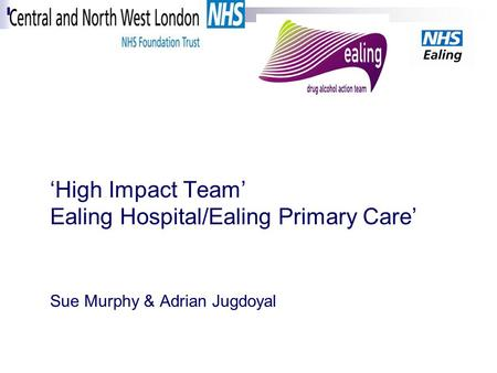 'High Impact Team' Ealing Hospital/Ealing Primary Care' Sue Murphy & Adrian Jugdoyal.