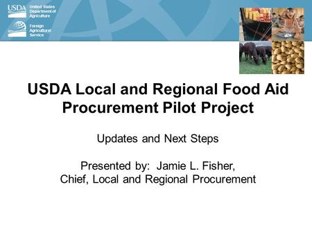 United States Department of Agriculture Foreign Agricultural Service USDA Local and Regional Food Aid Procurement Pilot Project Updates and Next Steps.