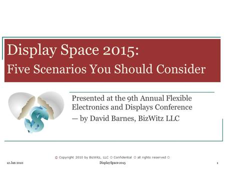 © Copyright 2010 by BizWitz, LLC  Confidential  all rights reserved  12 Jan 2010 DisplaySpace 20151 Display Space 2015: Five Scenarios You Should Consider.