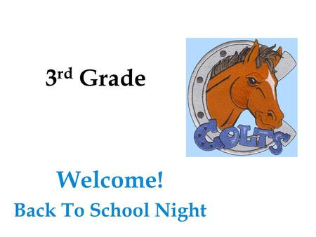 3 rd Grade Welcome! Back To School Night. Agenda  Teacher Introduction  Classroom Expectations  Class Schedule  Nine Weeks Plans  Homework Policy.