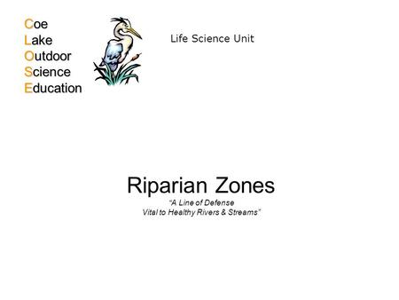 "Riparian Zones ""A Line of Defense Vital to Healthy Rivers & Streams"" Coe Lake Outdoor Science Education Life Science Unit."
