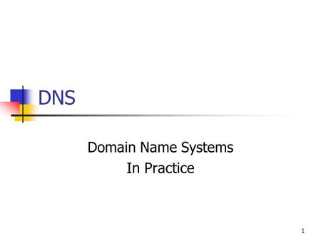 DNS Domain Name Systems In Practice 1. DOMAIN NAME PARTS 2.