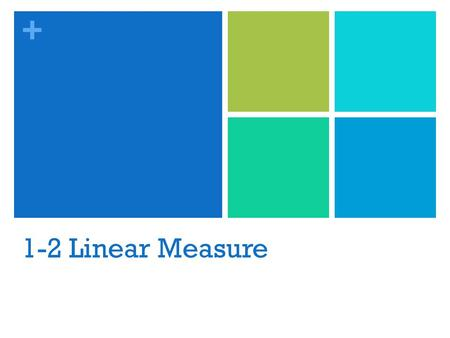 + 1-2 Linear Measure. + Vocabulary Line Segment- unlike a line, a segment can be measured because it has 2 endpoints Betweenness of points- There is always.