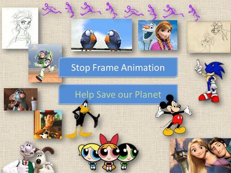 Help Save our Planet Stop Frame Animation. Climate Change Over fishing Over population Recycling Pollution Healthy foods.