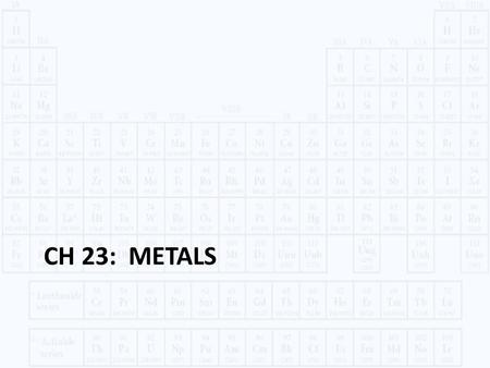 CH 23: METALS. METALS Chapter 23 © 2014 Pearson Education, Inc. Opaque Good conductors of ______ and __________ High ___________ and __________ Metallic.
