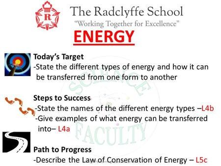 ENERGY Today's Target -State the different types of energy and how it can be transferred from one form to another Steps to Success -State the names of.