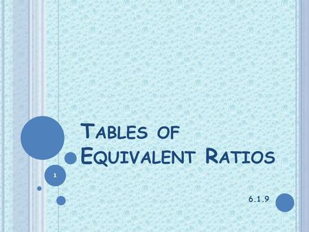 Tables of Equivalent Ratios