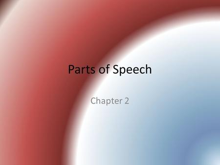 Parts of Speech Chapter 2.