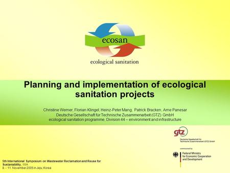 Planning and implementation of ecological sanitation projects