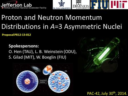 Proton and Neutron Momentum Distributions in A=3 Asymmetric Nuclei PAC-42, July 30 th, 2014. Proposal PR12-13-012 Spokespersons: O. Hen (TAU), L. B. Weinstein.