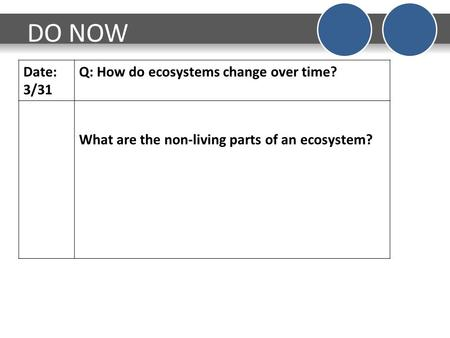 DO NOW Date: 3/31 Q: How do ecosystems change over time? What are the non-living parts of an ecosystem?