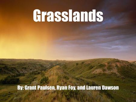 Grasslands By: Grant Paulsen, Ryan Foy, and Lauren Dawson.