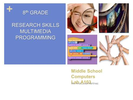 + Middle School Computers Lab A103 Ms. Ana Luisa Martinez 8 th GRADE RESEARCH SKILLS MULTIMEDIAPROGRAMMING.