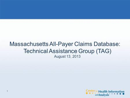 1 Massachusetts All-Payer Claims Database: Technical Assistance Group (TAG) August 13, 2013.