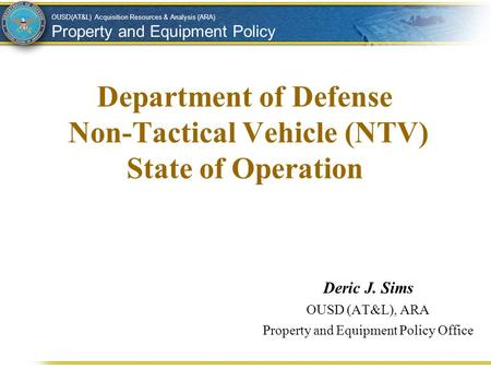 Department of Defense Non-Tactical Vehicle (NTV) State of Operation