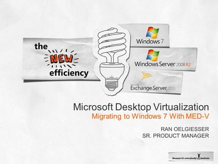 Microsoft Desktop Virtualization Migrating to Windows 7 With MED-V.