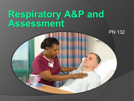 Respiratory A&P and Assessment PN 132 Objectives  Identify and define the parts and functions of the upper and lower respiratory system  Define common.